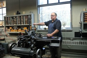 Michael at the Monotype casting machine